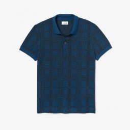 Mens Regular Fit Glen Plaid Print Cotton Polo