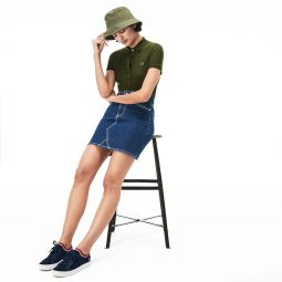 Womens Slim Fit Stretch Mini Cotton Pique Polo Shirt