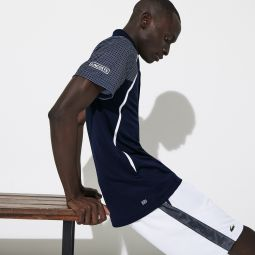 Mens SPORT Mesh Sleeved Breathable Tennis Polo Shirt
