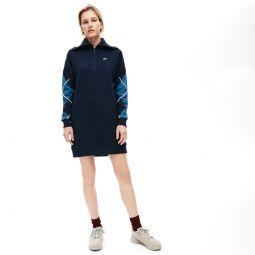 Womens Made In France Jacquard Patterned Fleece Sweatshirt Dress