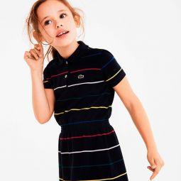 Girls Stretch-Waist Striped Cotton Pique Polo Dress