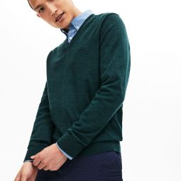 Mens V-neck Wool Jersey Sweater