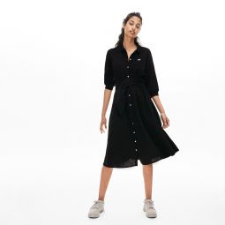 Womens Belted Cotton Petit Pique Polo Dress