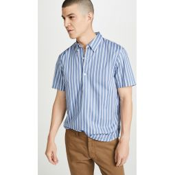 Short Sleeve Button Down Striped Popover Shirt