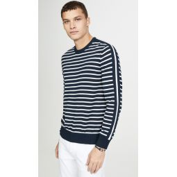 Long Sleeve Strapped Striped Crew Neck Sweater