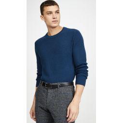 Textured Twill Crew Neck Sweater
