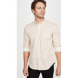 Long Sleeve Slim Button Down Honeycomb Shirt