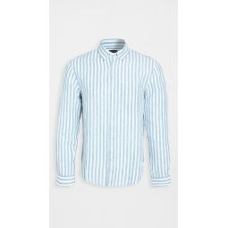 Button Down Stripe Linen Shirt