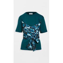 Bustier Mix Woven T-Shirt