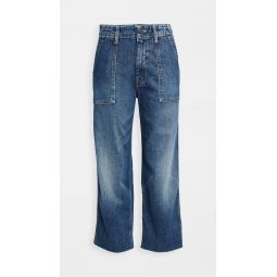 Patch Pocket Zip Ankle Fray Jeans