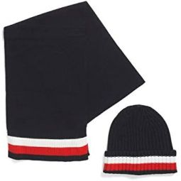 Tommy Hilfiger Mens Hat and Scarf Set Navy Blue one Size