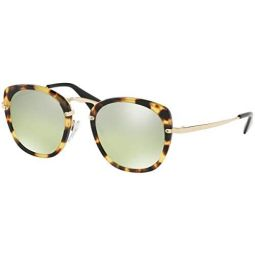 Prada PR58US Sunglasses Medium Havana w/Green Mirror Gradient Silver 49mm Lens 7S0212 SPR58U PR 58US SPR 58U