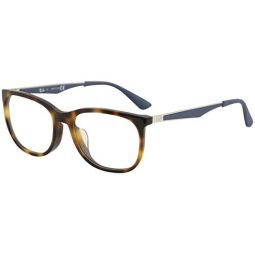 Ray-Ban Mens RX7078F Eyeglasses Shiny Light Havana 53mm