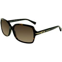 Coach Womens HC8116 Sunglasses Dark Tortoise/Brown Gradient 56mm