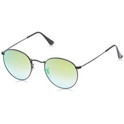 Ray-Ban RB3447 Round Metal Sunglasses, Shiny Black/Green Flash Gradient, 50 mm