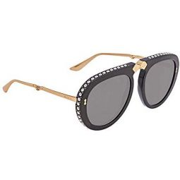 GUCCI 0307 Black Gold Crystal Stud Aviator Foldable Sunglasses