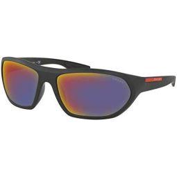 Prada Sport PS18US 1BO9Q1 Matte Black/Black Active Rectangle Sunglasses Lens