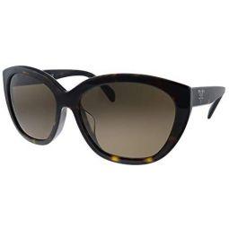 Prada PR 16XS 2AU8C1 Havana Plastic Oval Sunglasses Brown Lens