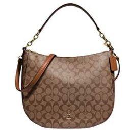 Coach Elle Hobo Shoulder Handbag In Signature Canvas Im/Khaki Saddle 2