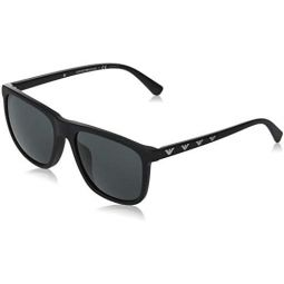 Armani EA4124F Sunglasses 573381-57 - Matte Black Frame, Grey EA4124F-573381-57