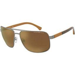 Emporio Armani EA2084 30036H Gunmetal EA2084 Rectangle Sunglasses Lens Category