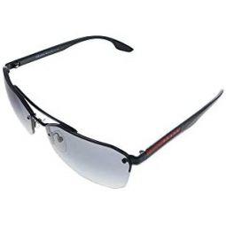 Prada Linea Rossa PS 54VS 1AB3M1 Black Metal Geometric Sunglasses Grey Lens