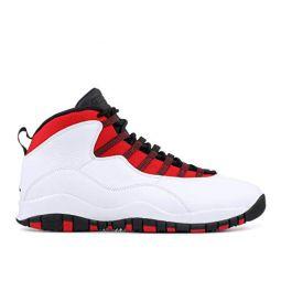 Jordan Air 10 Retro Mens Shoes (14 M US, White/Black University Red)
