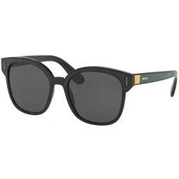 Prada PR05US Sunglasses Black Grey Yellow w/Grey 53mm Lens 07E5S0 SPR05U PR 05US SPR 05U