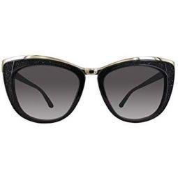 Swarovski Womens Diva Wayfarer Sunglasses,Shiny Black,53 mm