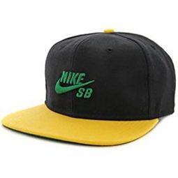 Nike Mens SB Skateboarding Icon Snapback Hat Cap Black/Yellow