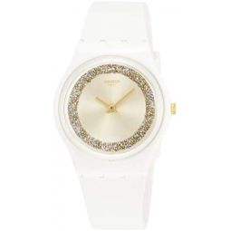 Swatch Womens Quartz Watch with Silicone Strap, White, 16 (Model: GW199)
