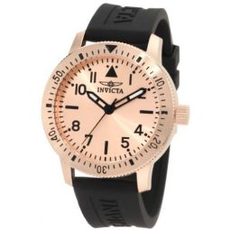 Invicta Mens 11424 Specialty Rose Dial Black Polyurethane Watch