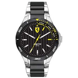 Ferrari Mens Quartz Watch with Stainless Ionic Plated Black Steel Strap, Silver, 25 (Model: 830762)