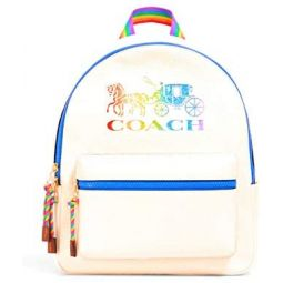 Coach Pebbled Leather Medium Charlie Backpack Tote (Chalk Multi)