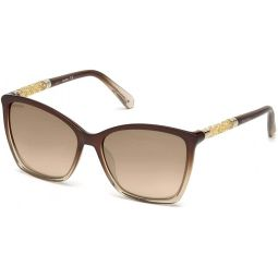 Swarovski sunglasses (SK-0148 48G) Transparent Brown - Transparent Beige - Brown grey black Gradient with Mirror effect lenses