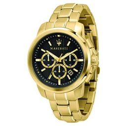 Maserati successo Mens Analog Quartz Watch with Stainless Steel Gold Plated Bracelet R8873621013