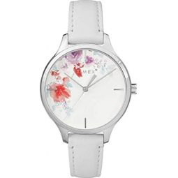 Timex Crystal Bloom 36mm Leather Strap Watch - White - TW2R66800