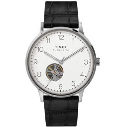 Timex Mens Waterbury Automatic 40mm Stainless Steel Self Winder Leather Strap, Black, 20 Casual Watch (Model: TW2U11500)