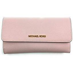 Michael Kors Womens Jet Set Travel Large Trifold Wallet (Powder Blush)