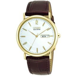 Citizen Mens BM8242-08A Eco-Drive Gold-Tone Leather Watch