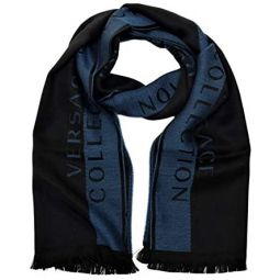 Versace Collection Mens Wool Scarf Stripe NAVY BLUE BLACK