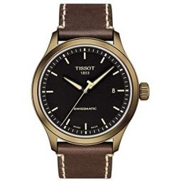 Tissot Mens Gent XL Stainless Steel Swiss Automatic Leather Strap, Brown, 22 Casual Watch (Model: T1164073605100)