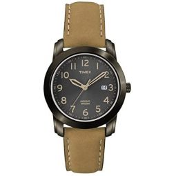 Timex Mens Quartz Watch with Black Dial Analogue Display and Brown Leather Strap T2P133