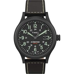 Timex Mens Expedition Scout Solar 40 mm Leather Watch TW4B18500