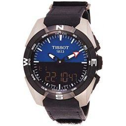 Tissot Mens Swiss Quartz Titanium and Black Leather Casual Watch (Model: T0914204604100)