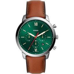 Fossil Neutra Quartz Green Dial Luggage Leather Mens Watch FS5735