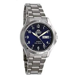 Orient RA-AB0F14L Mens Stainless Steel 3 Star Blue Numbers Dial Day Date Automatic Watch