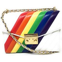 Michael Kors Rose Medium Leather Shoulder Flap Bag Rainbow