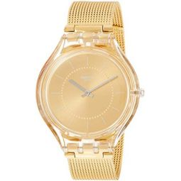 Swatch Skin Skincarat Gold Dial Stainless Steel Ladies Watch SVOK100M: Clothing