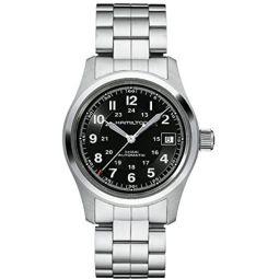 Hamilton Mens Khaki Field 38mm Steel Bracelet & Case Automatic Black Dial Analog Watch H70455133